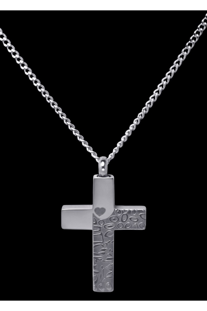 Stainless Steel Tone on Tone Cross Cremation Pendant #36-603